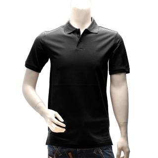 【Y-3】adidas山本耀司經典LOGO素面純棉立領短袖POLO衫(黑S89577)