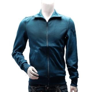 【Y-3】adidas山本耀司經典LOGO素面純棉立領外套(藍AC3406)