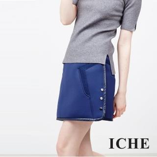【ICHE 衣哲】雙側釦拼接造型鉛筆裙