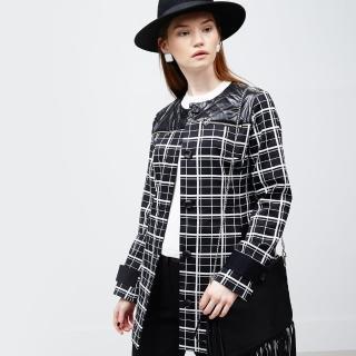 【ICHE 衣哲】黑白格紋絎縫大衣外套
