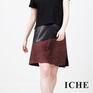 【ICHE 衣哲】立體紋理羊毛拼接蕾絲裙