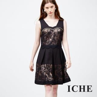 【ICHE 衣哲】蕾絲馬甲式拼接洋裝