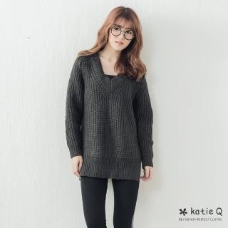 【*Katie Q】V領粗針織毛衣-F(綠/紫/灰)