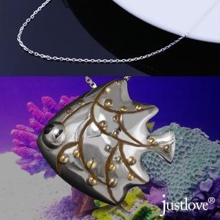 【justlove璀璨配飾】925純銀項鍊熱帶魚造型墜子鎖骨鍊(銀 NL-0024)