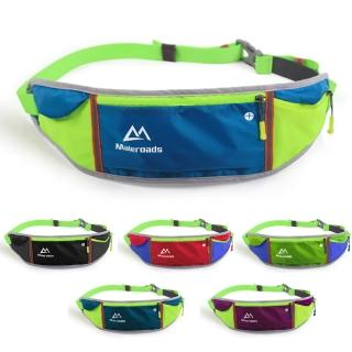 【原裝Maleroads】容納5.5吋手機 美型撞色 運動腰包(輕薄防潑水設計)