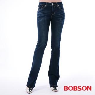 【BOBSON】女款口袋菱紋刺繡小喇叭牛仔褲(深藍9082-52)
