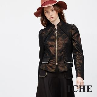 【ICHE 衣哲】金屬感拼接拉鍊外套