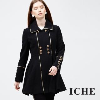 【ICHE 衣哲】雙排釦滾邊大衣外套