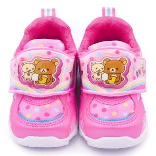 【童鞋城堡】拉拉熊 中童 甜美點點風電燈運動鞋(KM6603-粉)