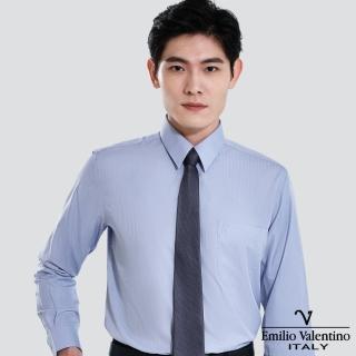 【Emilio Valentino 范倫提諾】仿天絲條紋長袖襯衫(灰)