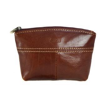 【Sika】義大利時尚真皮拉鍊大容量零錢包(A8257-02深咖啡)