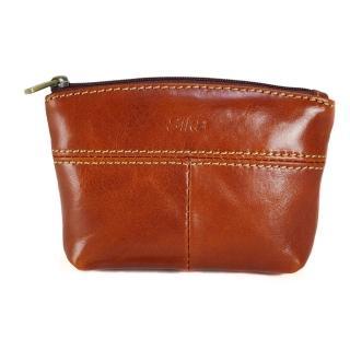 【Sika】義大利時尚真皮拉鍊大容量零錢包(A8257-01原味褐)
