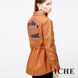 【ICHE 衣哲】刺繡撞色抽繩夾克外套