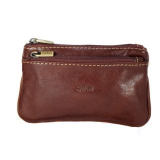 【Sika】義大利時尚真皮拉鍊雙層零錢包(A8265-01原味褐)