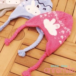 【微笑安安】MIT兔兔罩耳小辮子造型細珊瑚絨寶寶兒童毛帽‧3色