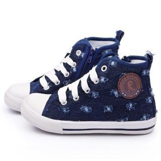 【童鞋城堡】Roberta 中大童 短筒牛仔風帆布鞋(615058-藍)