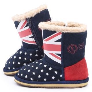 【童鞋城堡】Roberta 中童 英倫風保暖雪靴(615069-藍)