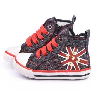 【童鞋城堡】Roberta 中童 短筒英倫風帆布鞋(615054-黑)