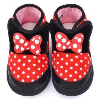 【童鞋城堡】Disney迪士尼 小童 米妮保暖短靴(453248-黑紅)