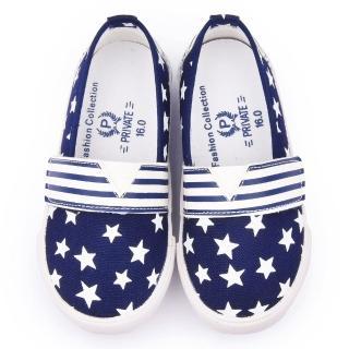 【童鞋城堡】二等兵 中童 星星帆布休閒鞋(5928-藍)