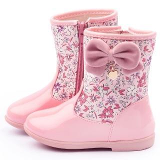 【童鞋城堡】二等兵 小童 浪漫花布典雅中筒靴(5526-粉)