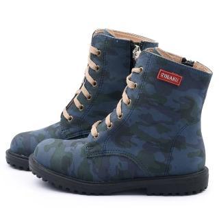 【童鞋城堡】中大童 迷彩帥氣中筒靴(661-深藍)
