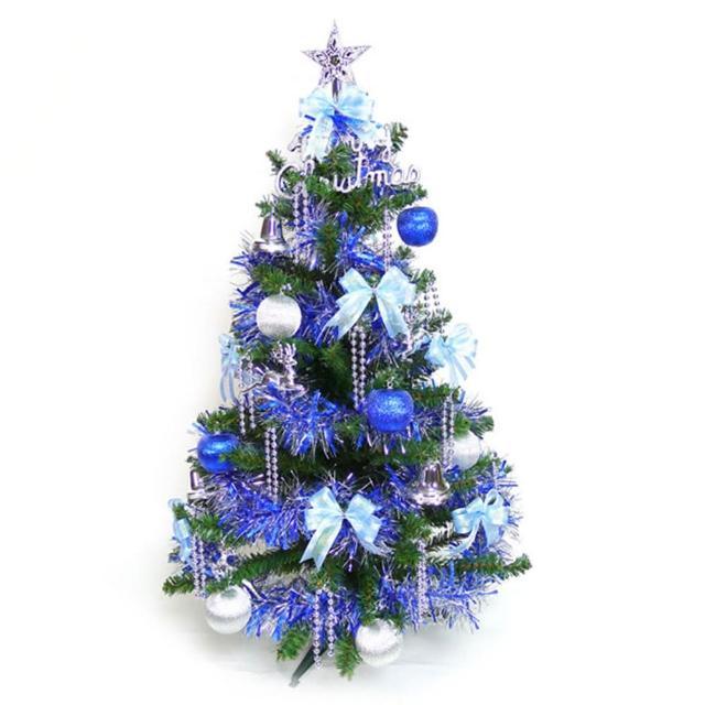 【聖誕裝飾特賣】幸福3尺-3呎(90cm一般型裝飾綠聖誕樹 +飾品組-藍銀色系不含燈)