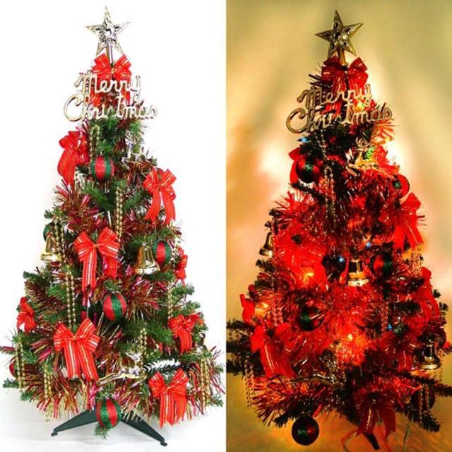 【聖誕裝飾特賣】幸福3尺-3呎(90cm一般型裝飾綠聖誕樹 紅金色系+100燈鎢絲樹燈串)