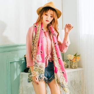 【Wonderland】朵朵芬芳100%純羊毛披肩(桃紅)