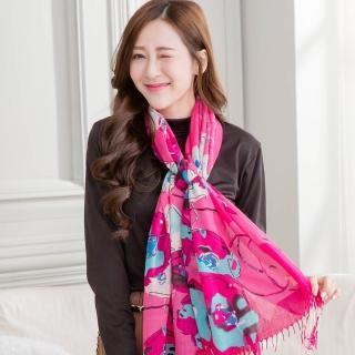 【Wonderland】柔情高雅100%純羊毛披肩(桃紅)