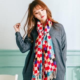【Wonderland】時尚俏麗100%純羊毛披肩(紅)