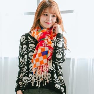 【Wonderland】時尚俏麗100%純羊毛披肩(橘)