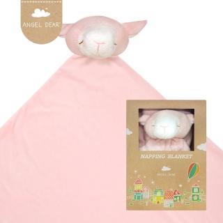 【美國 Angel Dear】大頭動物嬰兒毛毯(粉紅小羊)