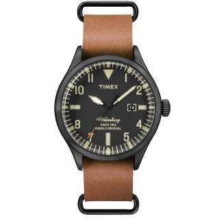 【TIMEX】160周年刻劃時代日期皮帶錶-黑x咖啡(TW2P64700)