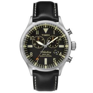 【TIMEX】160周年刻劃時代雙眼計時皮帶錶-銀x黑(TW2P64900)
