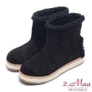 【2.Maa】率性迷人-帥氣視覺系設計款短筒雪靴(修飾黑)