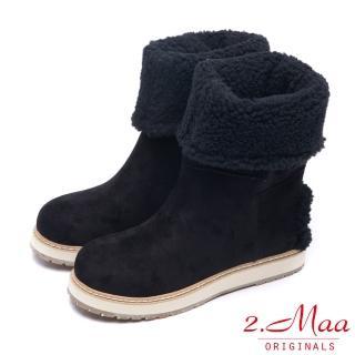 【2.Maa】率性迷人-冬季時尚反摺2WAY中筒雪靴(率性黑)