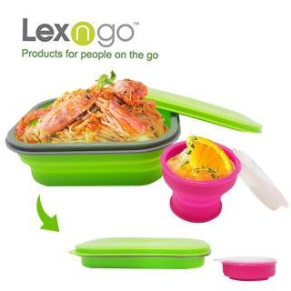【Lexngo】可折疊午餐組-大(餐盒 碗盤 廚具 便當)