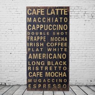 【OPUS LOFT純真年代】40X80仿舊文字木板畫/無框畫(A48003-1 CAFE LATTE)