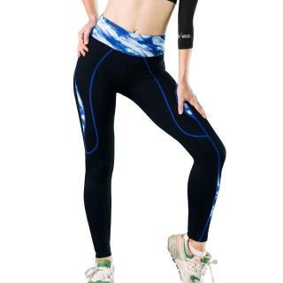 【Seraphic】完美曲線機能運動褲/壓縮褲/緊身褲(幻彩藍)
