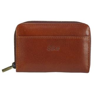 【Sika】義大利時尚真皮拉鍊小皮夾(A8274-01原味褐)