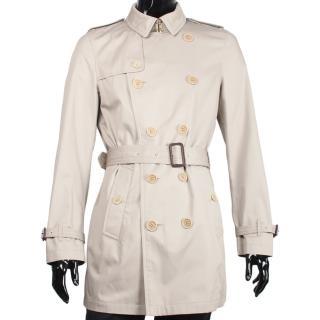 【BURBERRY】簡約棉質長版紳士風衣外套(卡其色)
