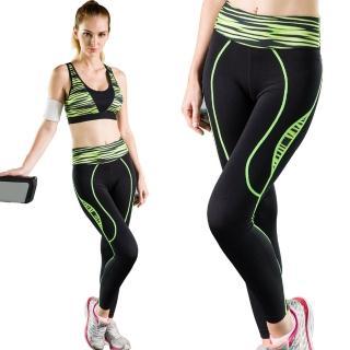 【Seraphic】完美曲線機能運動褲/壓縮褲/緊身褲(幻彩綠)