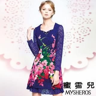 【蜜雪兒mysheros】蕾絲花卉洋裝宴會裝(紫)