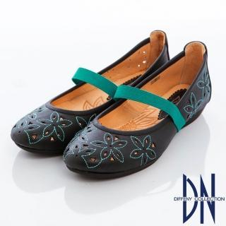 【DN】甜心魅力 MIT甜美繡花繫帶平底鞋(黑)