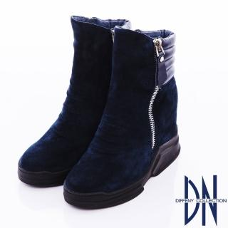 【DN】個性魅力 經典羊皮厚底中筒靴(藍)