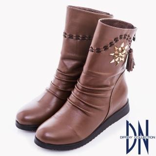 【DN】波西米亞風 太陽花造型鉚釘流蘇短靴(咖)