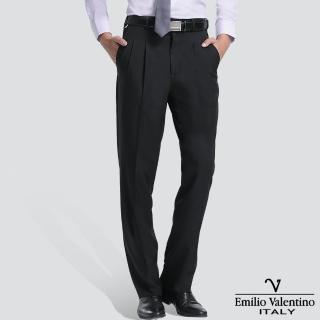 【Emilio Valentino 范倫提諾】高級打摺西褲(黑)