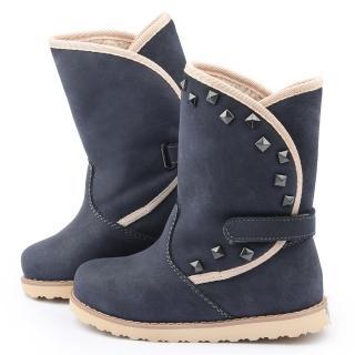 【童鞋城堡】日本娃娃 中童 典雅品味保暖絨毛長靴子(5356-藍)
