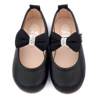 【童鞋城堡】日本娃娃 中大童 典雅蝴蝶結公主鞋(9808-黑)